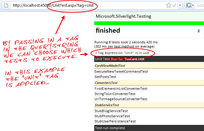 Executing tagged Silverlight tests.