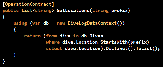 GetLocations WebService Method